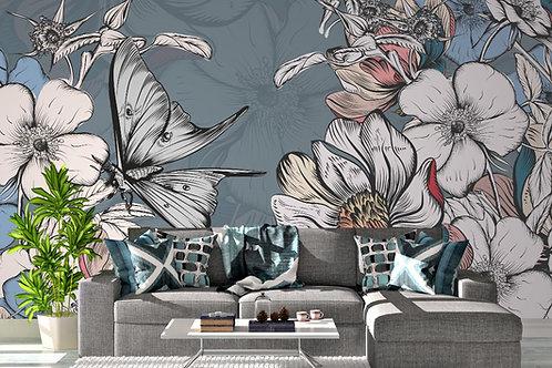 Foto Mural Artistico Borboleta e Flores
