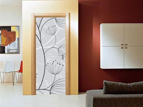 Adesivo para Porta - Floral Linhas