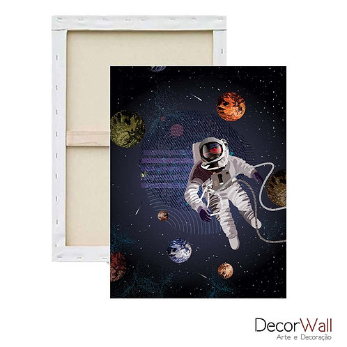 Quadro Decorativo Canvas  Minimals Astronauta Espaço Artistico