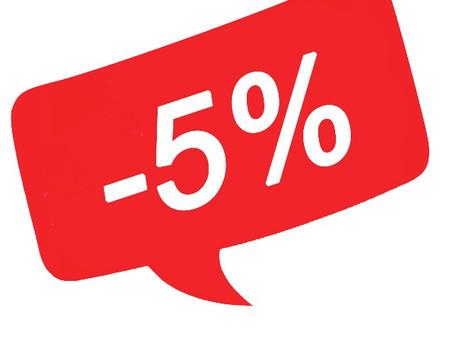 С 1 и по 15 августа скидка 5% на все услуги при записи через сайт!
