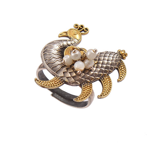 Silver Gold Plated, Adorable Peacock Ring With Pearl