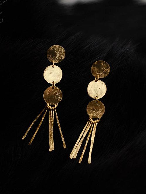 Berserk Gold Plated Disc Tassel Earrings