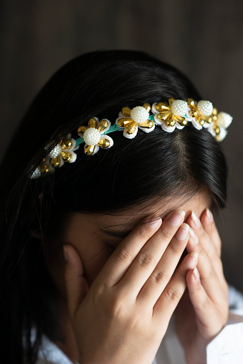 The Jemima Designer Flower Pearl Headband