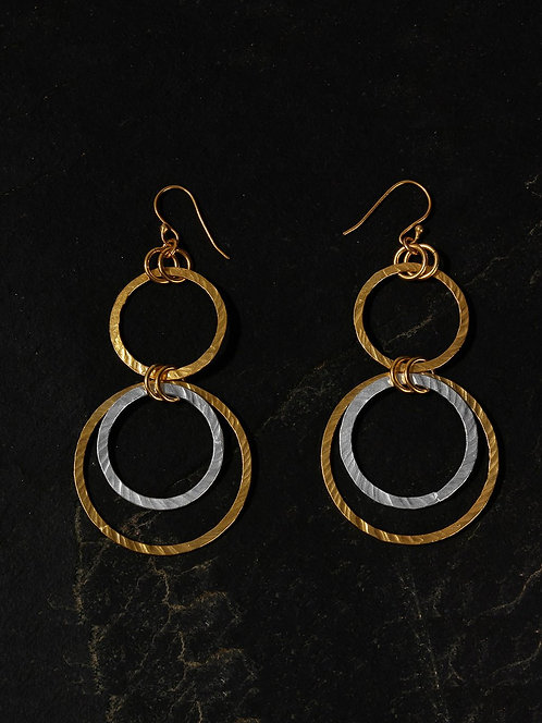 Berserk Gold-Silver Plated Ring Danglers