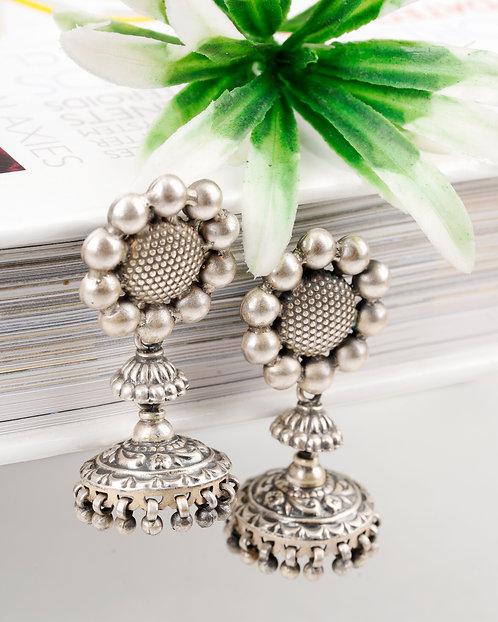 Silver Jhumki Floral Ghungroo Earrings