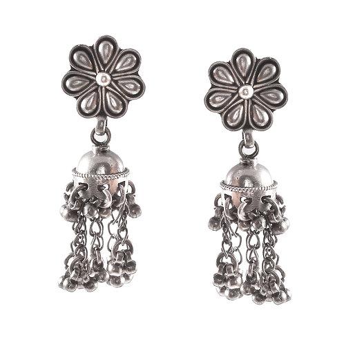 Silver Floral Design Stud Jhumkis