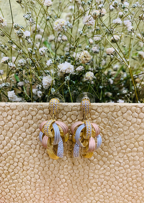 Statement three colored earring