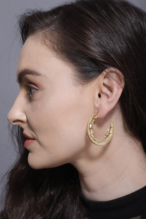 Berserk Gold Plated Triangle Cut Out Hoops