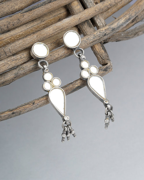 Silver White Glass Ghungroo Ear Studs