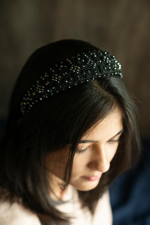 Black Star Velvet Beads Headband