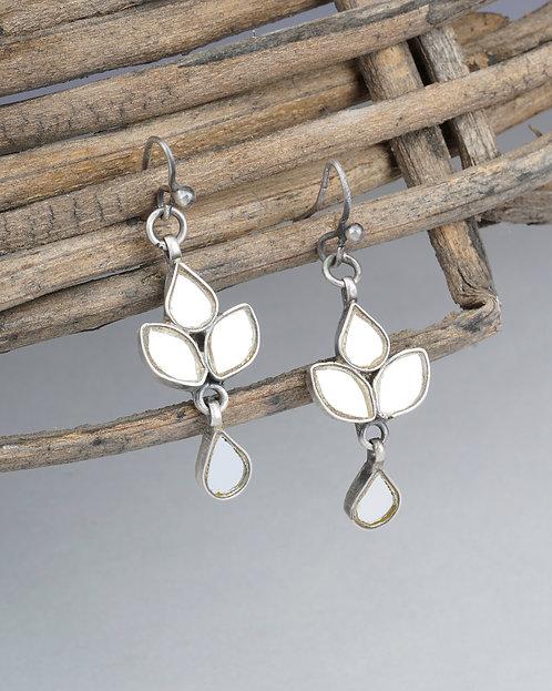 White Mirror Glass Silver Dangle Earrings