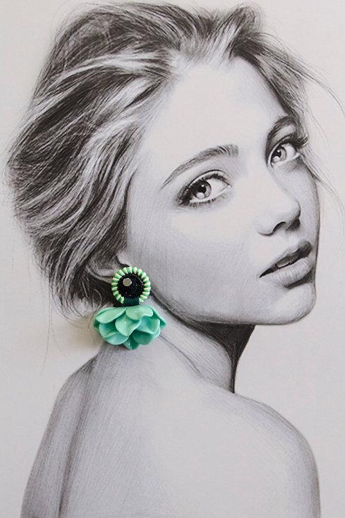 Menthe Poppy Drop Earrings