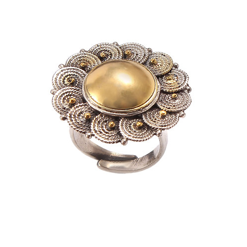Silver Gold Plated, Adorable Floral, Designer Ring