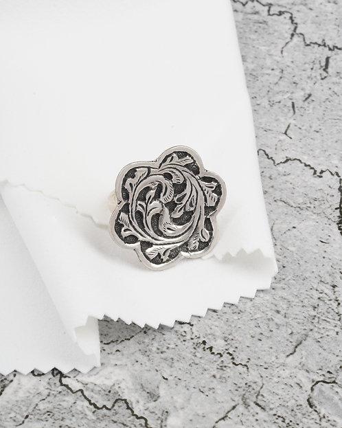 Oxidized Silver Chitai Work Ring