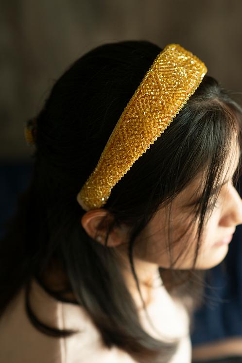 Ivory Satin Headband with Crystal Bicone Beads