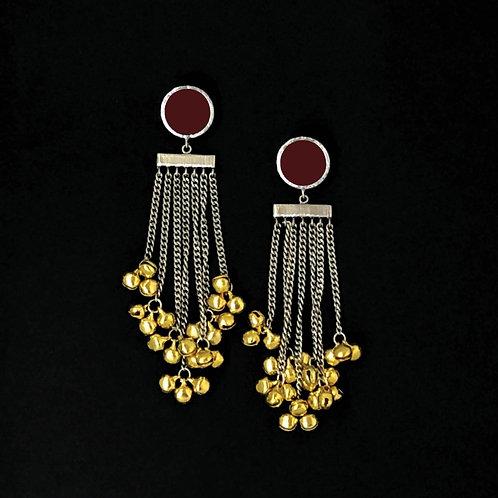 Tasseled ghooghri earrings - maroon