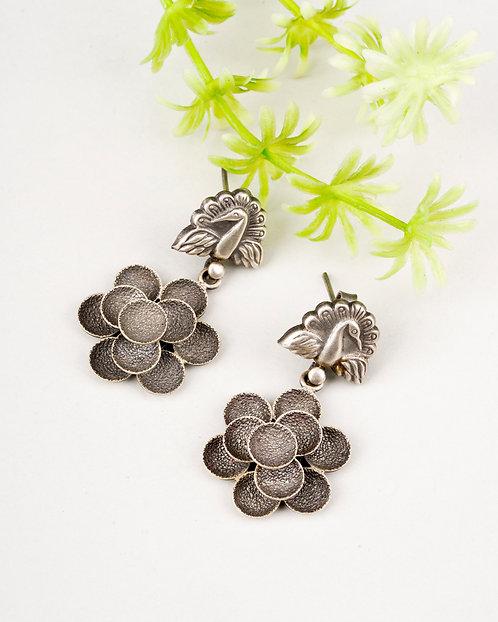 Peacock Design Silver Ear Studs