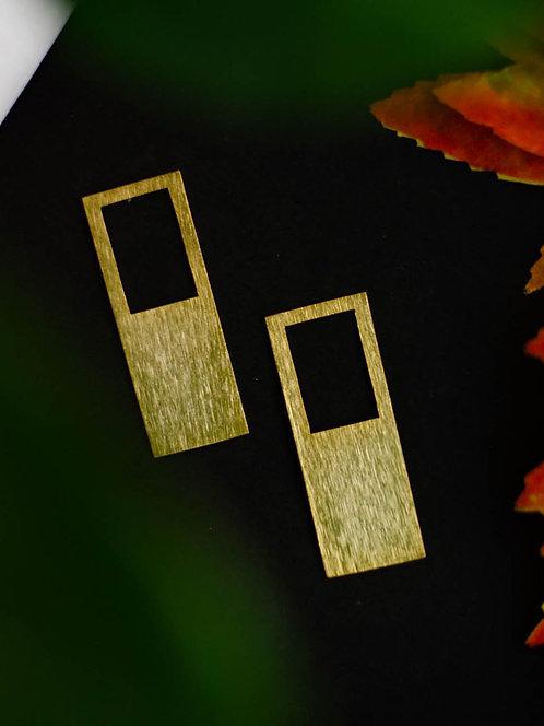 Berserk Gold Plated Rectangular Frame Earrings