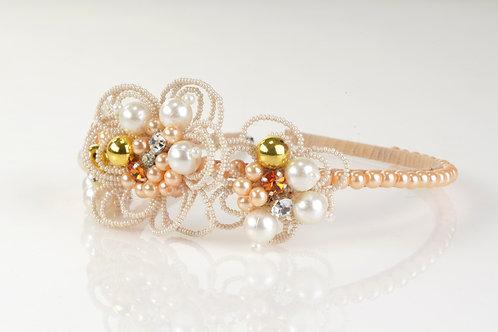 Gold Flower Crystal Petals Headband