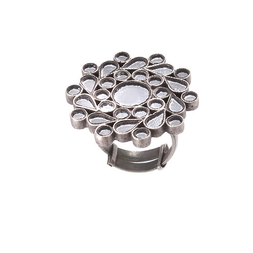 Silver Floral, White Mirror Glass, Ring