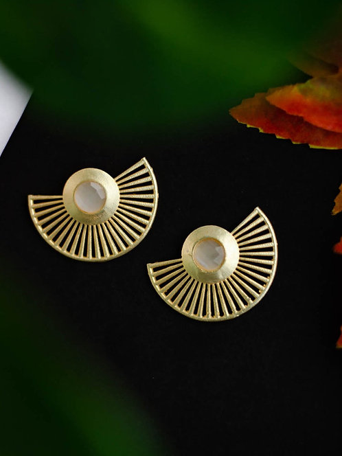 Berserk Gold Plated Moonstone Fan Earrings