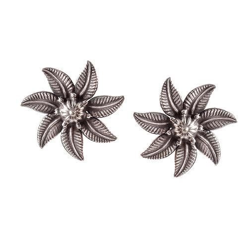 Silver Floral-Leaf Design Ear Studs