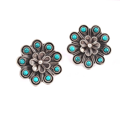 Silver Turquoise Floral Ear Studs