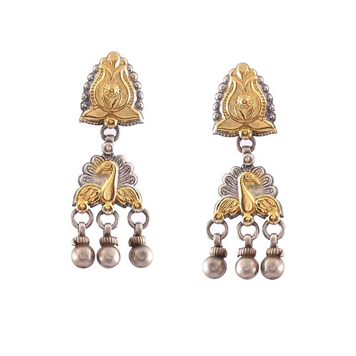 Silver Gold Plated, Lotus & Peacock Design, Ghungroo Ear Studs