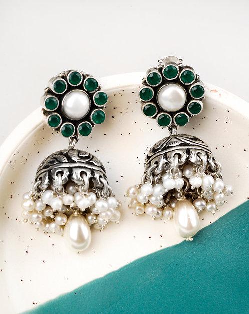 Silver Chitai Work White Pearl Stud Earrings
