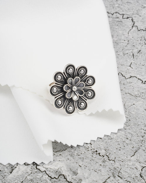 Silver Floral Oxidized Ring