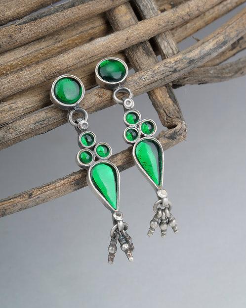 Green Gemstone Silver Ghungroo Ear Studs