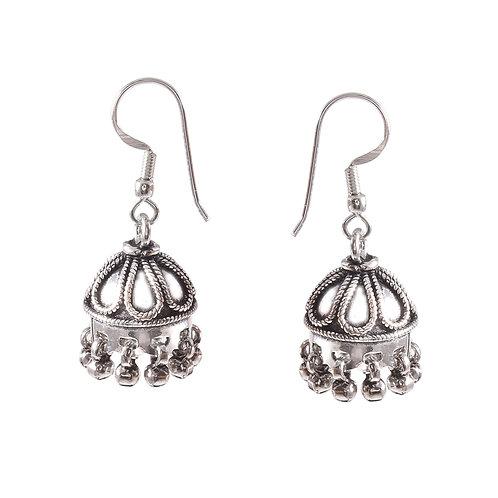 Silver Tear-Drop Design Drop Earrings