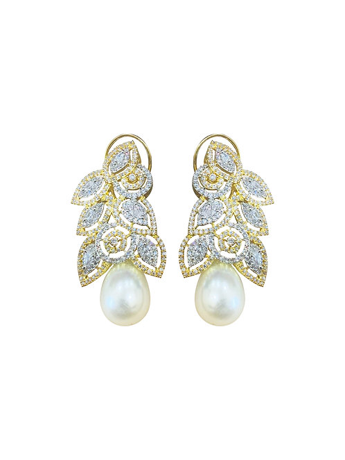 Leaf and Pearl Drop Statement Earrings