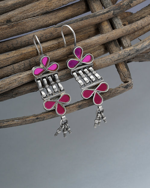 Silver Pink Glass Ghungroo Dangle Earrings