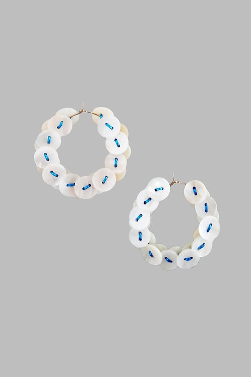 Mother of Pearl Button Blue Hoops