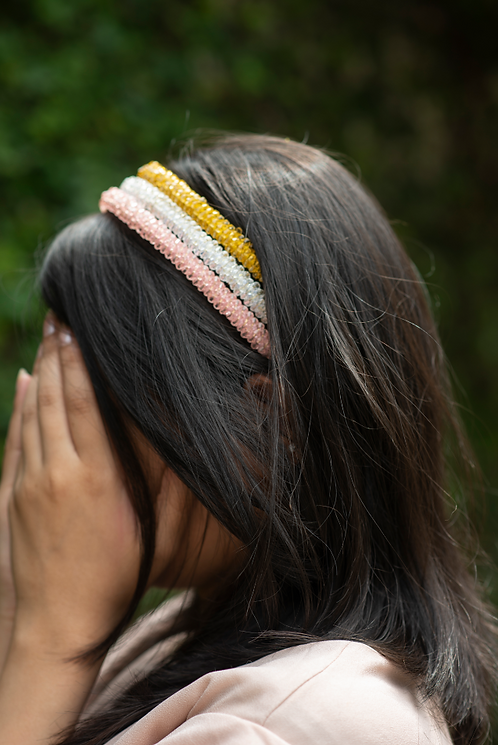 Pink Crystal Satin Covered Headband