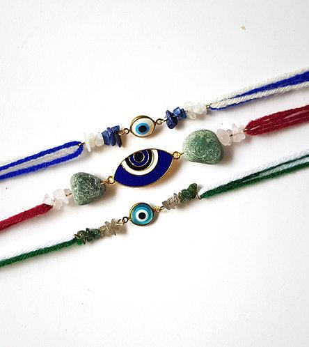 Bold Blue Evil  Eye Rakhi Set of 3