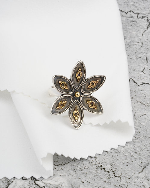 Gold Plated Silver Floral Ring