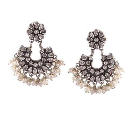 Silver Floral Design CZ's Ear Studs