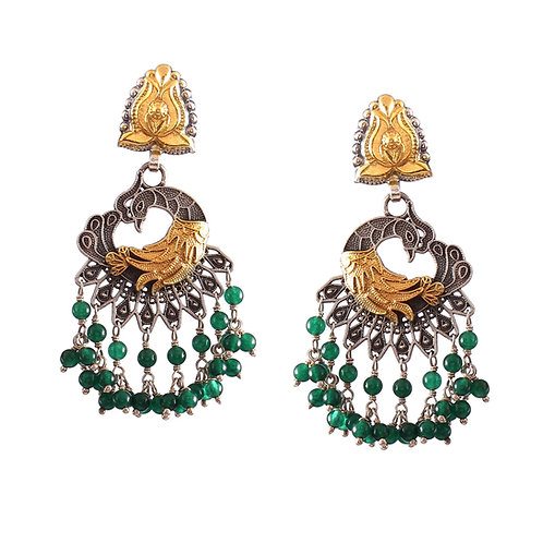 Silver Gold Plated, Adorable Peacock, Stud Earrings