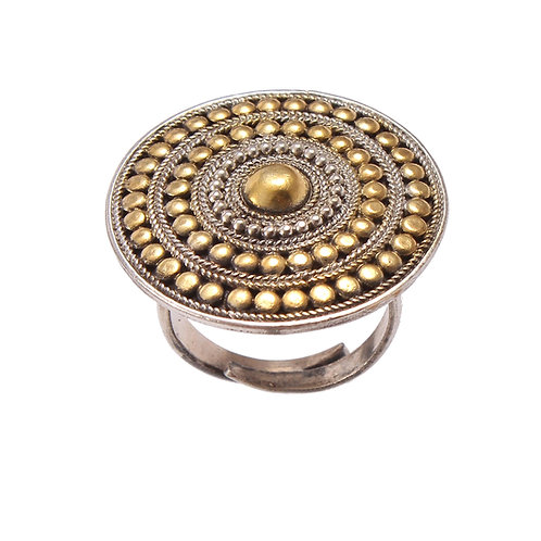 Silver Gold Plated, Floral Statement Ring With Rawa