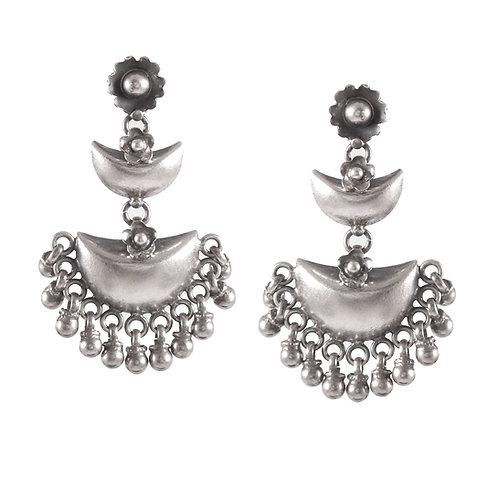 Silver Half-Moon Design Ear Studs