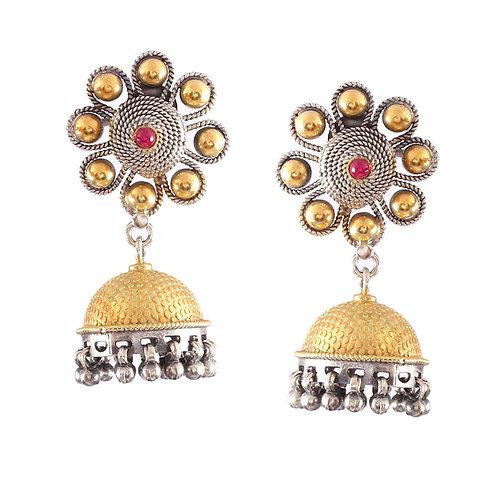 Silver Gold Plated, Embellished Pink Gemstone, Adorable Floral, Stud Jhumki