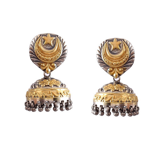 Silver Gold Plated, Moon & Star Design, Stud Earrings With Ghungroo