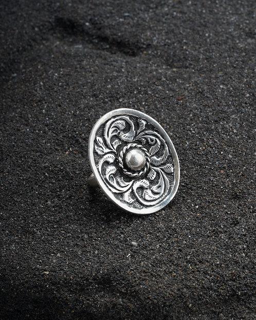 Chitai Work Oxidized Silver Ring