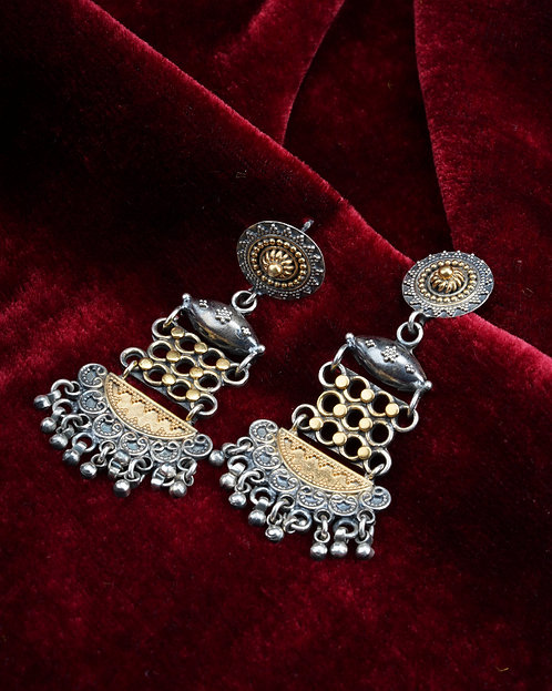 Silver With Gold Plated Ghungroo Stud Earrings