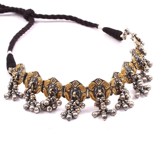 Silver Gold Plated, Black Thread, Ghungroos With Neckpiece