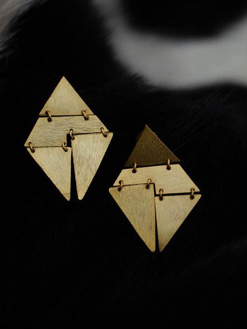Berserk Gold Plated Geometric Rhombus Earrings