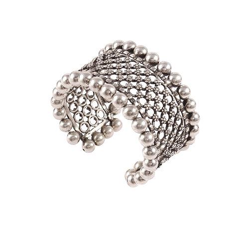Silver Floral Statement, Designer Cuff Bangle