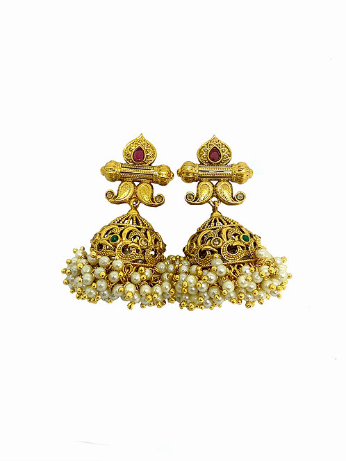 Statement Gold and pearl  jhumkis